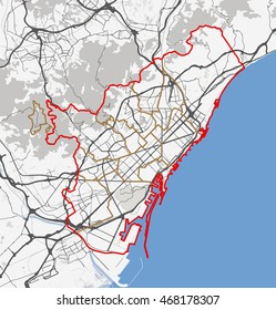 Map of Barcelona city. Roads
