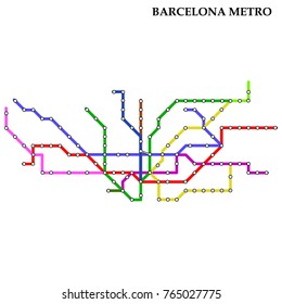 Map of the Barcelona metro, Subway, Template of city transportation scheme for underground road. Vector illustration