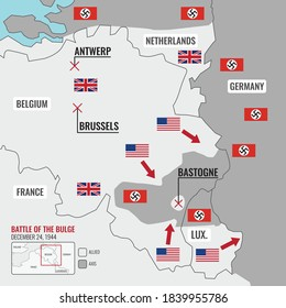 Map of Battle of the Bulge during World War II in Europe, showing the Allied and Axis frontline in 1944, Vector Diagram