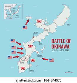 Map of Battle of Okinawa during World War II showing American and Japanese armies and frontlines, April 1 - June 30, 1945, Vector Diagram