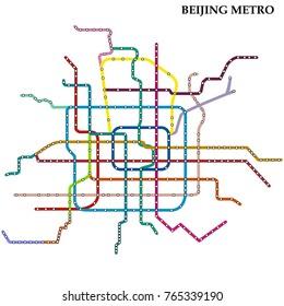 Map of Beijing metro, Subway, Template of city transportation scheme for underground road. Vector illustration