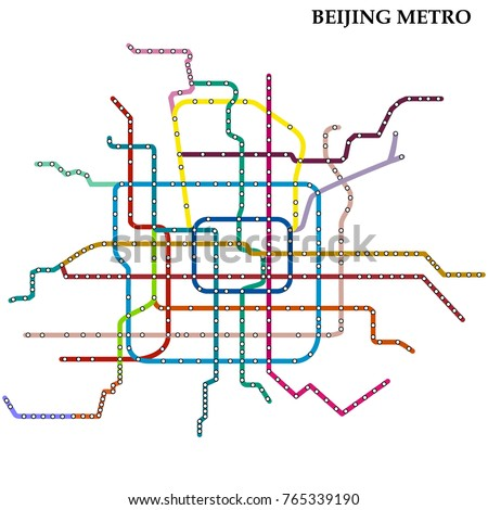 Map Beijing Metro Subway Template City Stock Vector Royalty Free