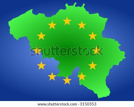 Map Belgium European Union Flag Illustration Stock Vector Royalty