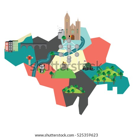 Map Belgium Some Sightseeings Monuments Stock Vector (Royalty Free ...