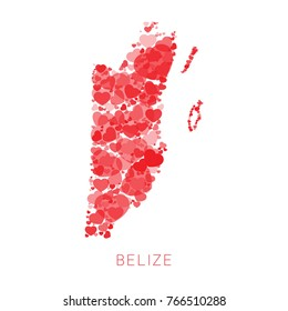 map of belize filled with mosaic of hearts of different sizes and degrees of transparency on white background