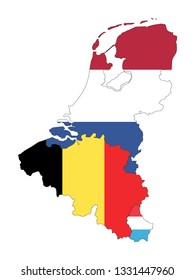 Map of Benelux with State Flags