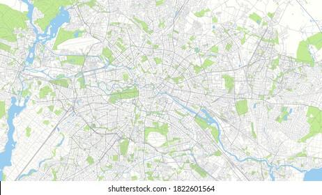 Сity map Berline, color detailed urban road plan, vector illustration