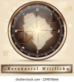 Map of Bernkastel-Wittlich with borders in bronze