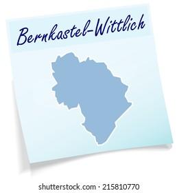 Map of Bernkastel-Wittlich as sticky note in blue