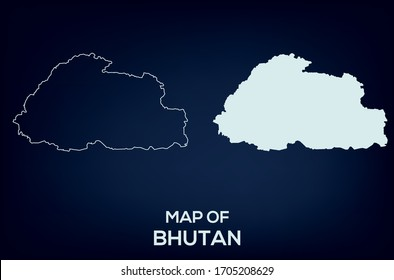 Map of Bhutan. Abstract design, vector illustration by using adobe illustrator. Bhutan map. Bhutan Outline map