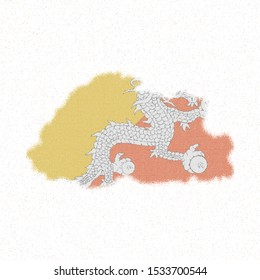 Map of Bhutan. Mosaic style map with flag of Bhutan. Comely vector illustration.