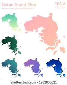 Map of Bintan Island with beautiful gradients. Amusing set of Bintan Island maps. Tempting vector illustration.