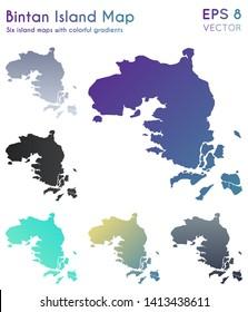Map of Bintan Island with beautiful gradients. Amusing set of island maps. Superb vector illustration.