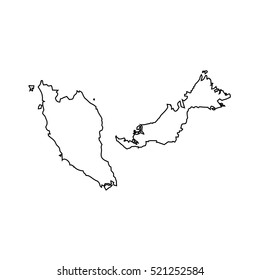 map black outline Malaysia