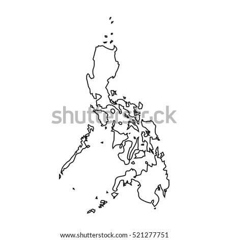 Map Black Outline Philippines Stock Vector Royalty Free 521277751