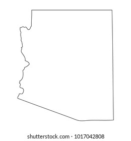 Map black outline state USA - Arizona