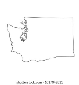 Map black outline state USA - Washington