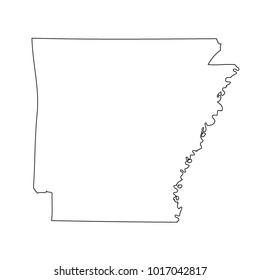 Map black outline state USA - Arkansas