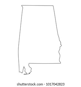 Map black outline state USA - Alabama