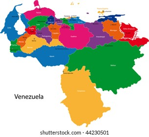 Map of the Bolivarian Republic of Venezuela with the states colored in bright colors and the main cities.
