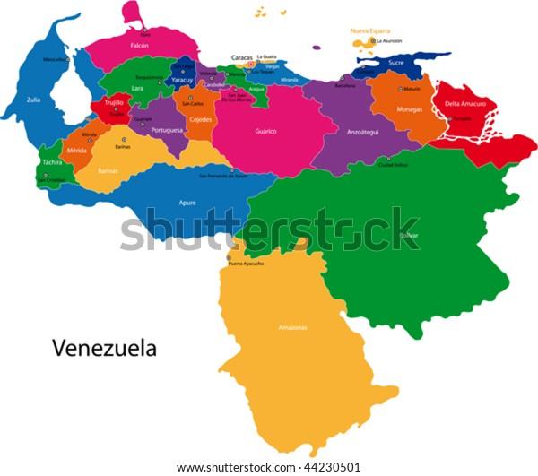 Map Bolivarian Republic Venezuela States Colored Stock ...