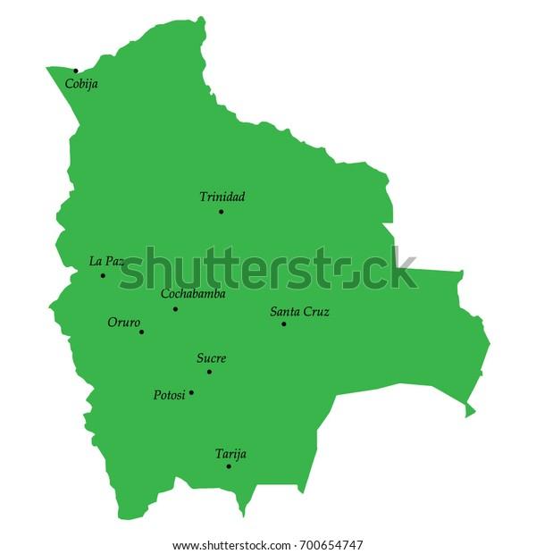 Map Bolivia Main Cities Stock Vector (Royalty Free) 700654747