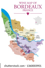 Map of Bordeaux wine vineyard