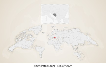 map of bosnia and herzegovina with neighbor countries pinned on world map abstract triangles world