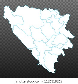 Map of Bosnia and Herzegovina. Vector illustration on transparent background. Items are placed on separate layers and editable. Vector illustration eps 10.