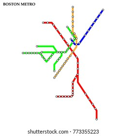 Map of the Boston metro, Subway, Template of city transportation scheme for underground road. Vector illustration