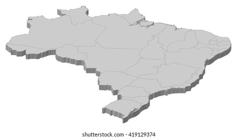 Map - Brazil - 3D-Illustration