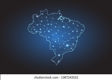 Map of Brazil - Abstract mash line and point scales on circuit dark background. Wire frame 3D mesh polygonal network line, design sphere, dot and structure. Vector illustration eps 10.