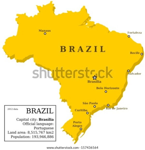 Map Brazil Country Outline Information Box Stock ...