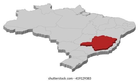 Map - Brazil, Minas Gerais - 3D-Illustration