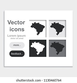 Map of Brazil placed on web page template flat vector icon.