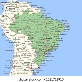 Map of Brazil. Shows country borders, urban areas, place names and roads. Labels in English where possible.Projection: Mercator.