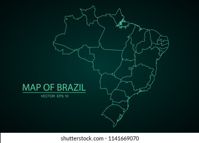 Map of Brazil,Green map on dark background of map of Brazil symbol for your web site design map. Vector illustration eps 10.