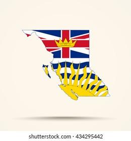 Map of British Columbia in British Columbia flag colors
