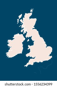 Map of British Isles. Great Britain, Ireland. Template for making maps of UK or Ireland. Beautifully can be zoomed in, showing waves of the coast outline. Vector illustration based on geographical map