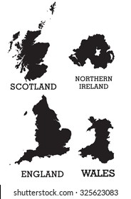 Map of the British Isles, UK, Great Britain, Black solid separated regions.