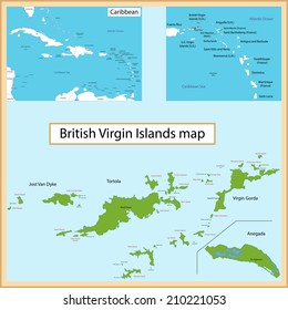 Map of the British Virgin Islands drawn with high detail and accuracy.