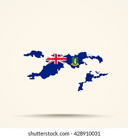 Map of British Virgin Islands in British Virgin Islands flag colors