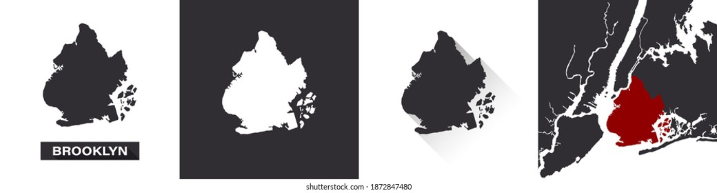 Map of Brooklyn. Boroughs of New York City. United States of America. State maps. Trendy design. Vector illustration