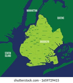 Map of Brooklyn neighborhoods and surrounding boroughs of NYC