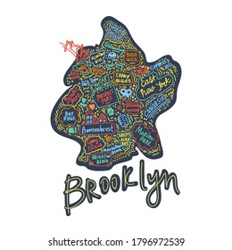 Map of Brooklyn new York USA flat drawn vector illustration. American States city, district, name inscriptions and cartoon attractions, tourist attractions clipart. Us trips, travel poster comics