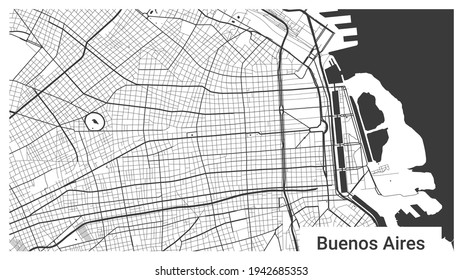 Map of Buenos Aires city, Argentina. Horizontal background map poster black and white land, streets and rivers. 1920 1080 proportions. Royalty free grayscale graphic vector illustration.