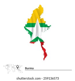 Map of Burma with flag - vector illustration