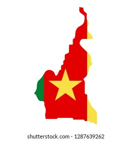 map of Cameroon with flag inside. Cameroon map vector illustration
