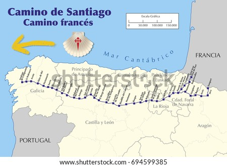 Map Camino De Santiago Map Saint Stock-Vrgrafik (Lizenzfrei ... on