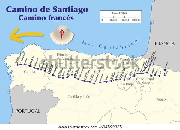 Map Camino De Santiago Map Saint Stock-Vrgrafik (Lizenzfrei ... on
